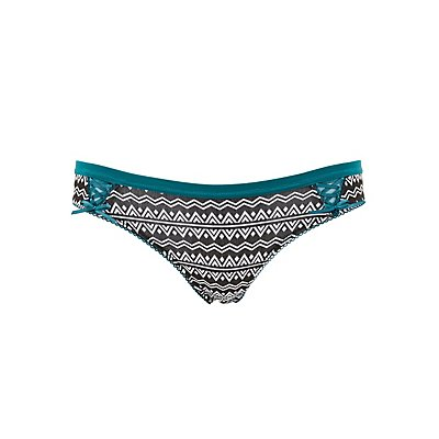 Printed Bow-Trim Thong Panties