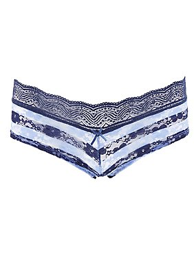 Striped Lace Cheeky Panties