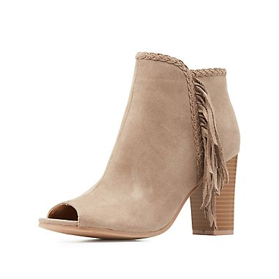 Fringe Peep Toe Booties