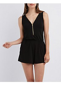 Zip-Up Sleeveless Romper