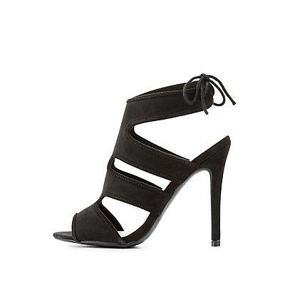 Caged Faux Suede Dress Sandals