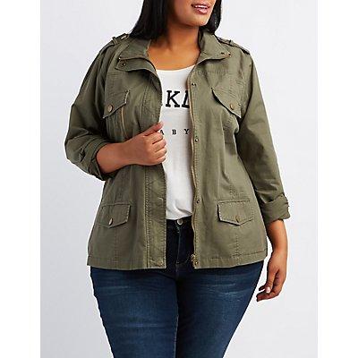 Plus Size Zip-Up Anorak Jacket