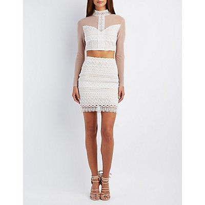 Mesh & Crochet Crop Top & Pencil Skirt Hook-Up