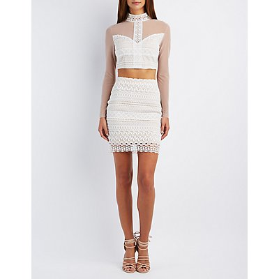 Mesh & Crochet Crop Top & Pencil Skirt Hook-Up