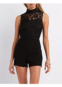 Lace Mock Neck Romper