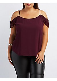 Plus Size Strappy Sleeve Cold Shoulder Top