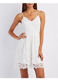 Floral Lace Scalloped Dress