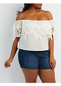Plus Size Off-the-Shoulder Blouse