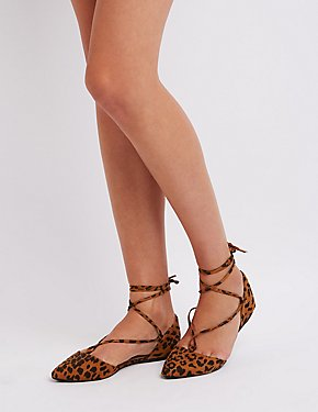 Leopard Lace-Up Pointed Toe Flats
