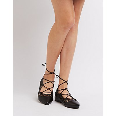 Laser Cut Lace-Up Flats