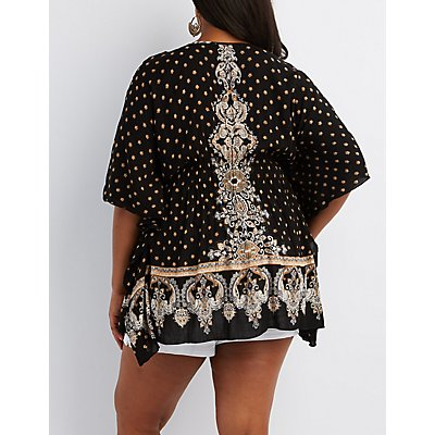 Plus Size Border Print Kaftan Tunic