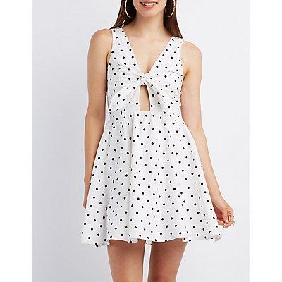 Polka Dot Knotted Skater Dress