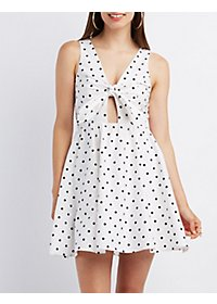 Polka Dot Knotted Skater Dress