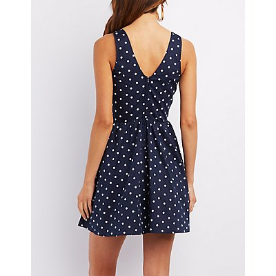 Tie-Front Printed Skater Dress