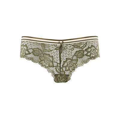 Striped Waistband Lace Cheeky Panties