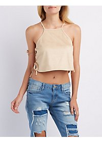 Faux Suede Lace-Up Crop Top