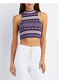 Printed Mock Neck Crop Top