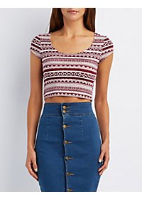 Printed Scoop Neck Crop Top