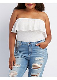 Plus Size Strapless Lace Bodysuit
