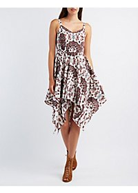 Floral Handkerchief Hem Dress