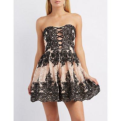 Lace Combo Sweetheart Skater Dress