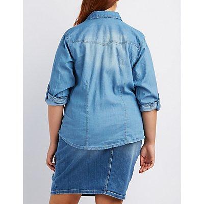 Plus Size Chambray Button-Up Shirt