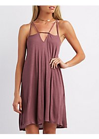 Ribbed Strappy Shift Dress