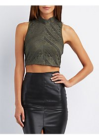 Lace Mock Neck Crop Top