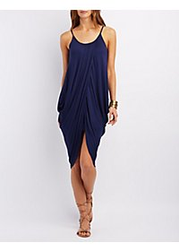 Draped High-Low Cocoon Dress