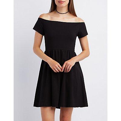 Off-the-Shoulder Skater Dress