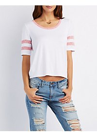 Striped Sleeve Ringer Tee