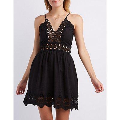 Embroidered & Crochet-Trim Dress