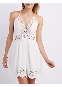 Embroidered & Crochet-Trim Dress
