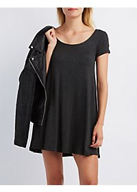 Scoop Neck Trapeze Shift Dress