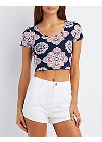 Caged-Back Printed Crop Top