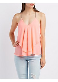 Chain Strap Ruffle Tank Top