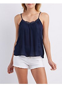 Crochet-Trim Tank Top
