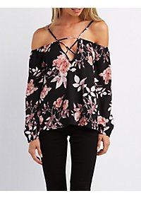 Floral Caged Cold Shoulder Top