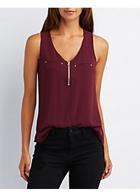 Zip Front Pocket Tank Top