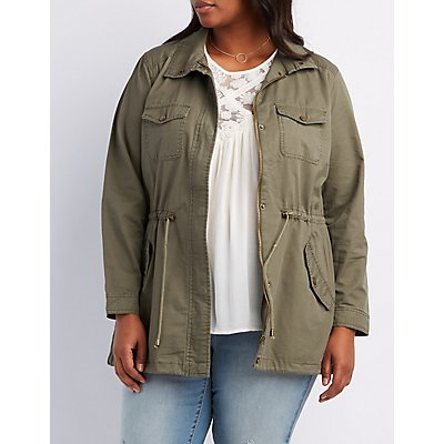 Plus Size Drawstring Anorak Jacket