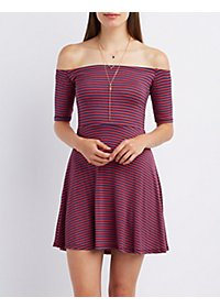 Striped Off-the-Shoulder Skater Dress