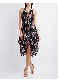 Caged Plunging Bust Floral Print Dress