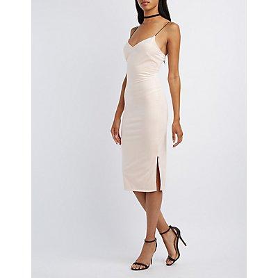 Faux Suede Bodycon Midi Dress