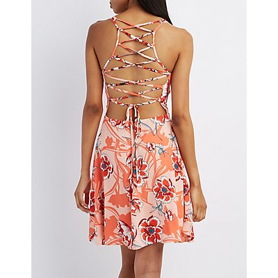 Floral Lace-Up Back Skater Dress
