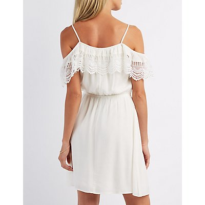 Crochet-Trim Cold Shoulder Dress