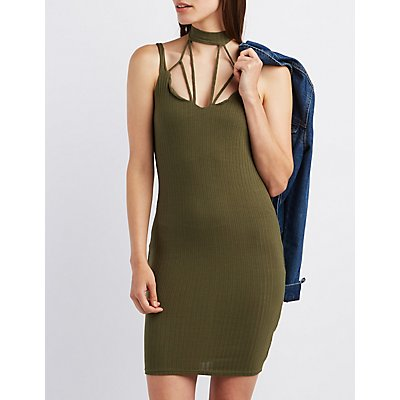 Caged Ribbed Bodycon Dress