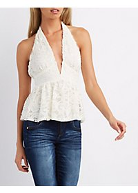 Notched Lace Halter Top