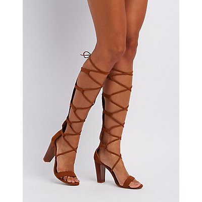 Bamboo Braided Knee-High Gladiator Sandals