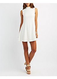 Lace Mock Neck Swing Dress
