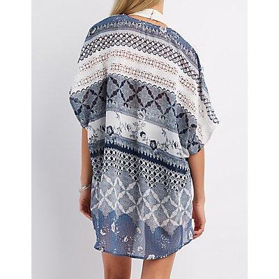 Crochet-Trim Floral Print Kimono